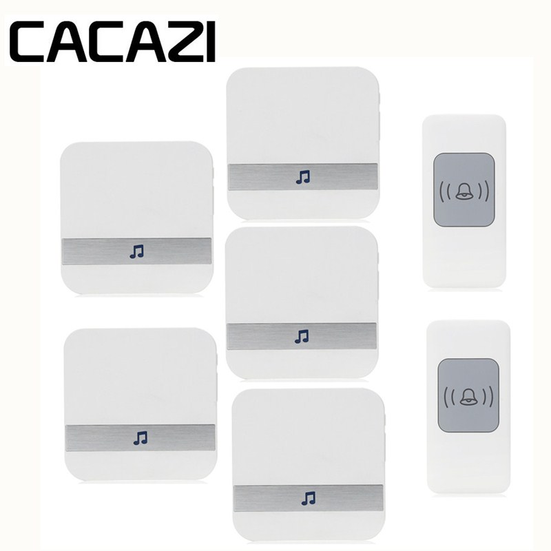 CACAZI Smart Wireless Waterproof Doorbell Battery Button Household Call Ring 52 Songs AC 75-250V Receiver US EU Plug 300M Remote cacazi waterproof wireless battery button doorbell smart sensor 300m remoto receiver 75 250v us plug household ringbell 52 songs
