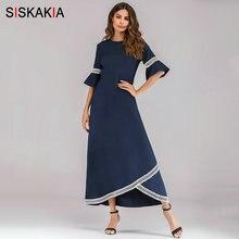 e507502064 Siskakia Oficina dama vestidos Maxi de corte Slim de media manga cuello  redondo volantes de encaje Patchwork asimetría corte .