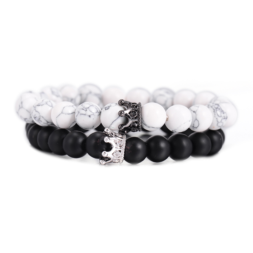 Simple Black White Stone Beads With Silver Color Alloy Crown Bracelet For Women Men Couple Bracelets Bangles Jewelry Lover Gift