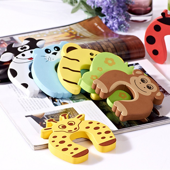 Baby Kid Children Security Door Stopper Safety Animal Door Jammer Holder Lock Finger Protection Anticollision smiley face door window children safety lock band 2 pack set