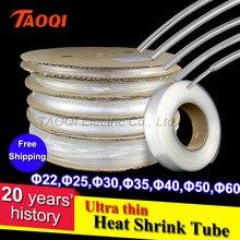 O envio gratuito de 1 metro 2:1 clear heatshrink tubo transparente 22mm 25mm 30mm 35mm 40mm 50mm 60mm fina heatshrink envoltório da tubulação