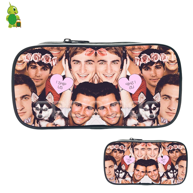 Rock Big Time Rush Kendall Schmidt James Maslow Collage Cosmetic Bags Boys Girls Large Capacity Pencil Case School Storage Bags