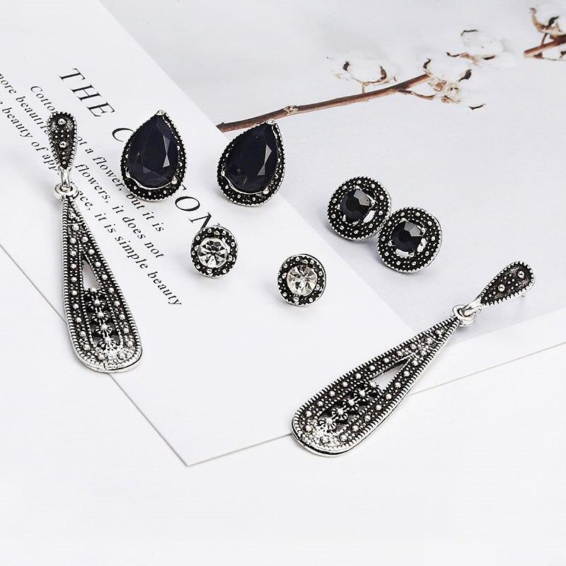 4 Pairs/Set Women Crystal Bohemian Earring Stud Earrings for Women Boucle Doreille Jewelry Cubic Zirconia Brincos e0138