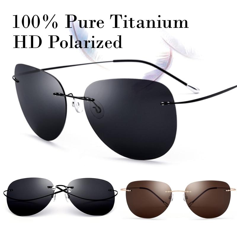 100% Echt Titan Ultralight Keine Schraube Polarisierte Randlose Sonnenbrille Männer Frauen Mode Sun Glasse Schatten Oculos Gafas De Sol 2018