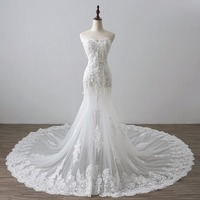 Real Photo Mermaid Lace Weeding Dresses Sweetheart Long Train Bohemian Beach Bridal Gowns Illusion Gowns Elegant