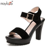 MAYLOSA Summer Fashion Platform Thick High Heel Sandal Women Real Leather Ladies Sandals Classic Summer Sandal