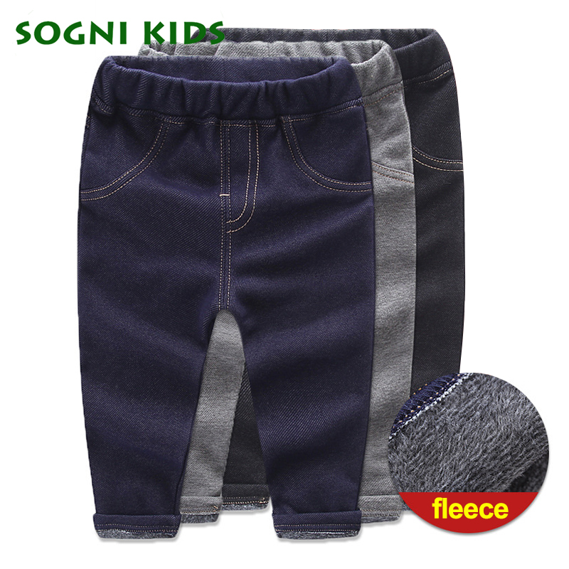 цена Baby Girls Boys Winter Jeans Elastic Waist Long Fleece Heat Insulated Pants Children Cotton Trouser For Fashion Kids Clothes