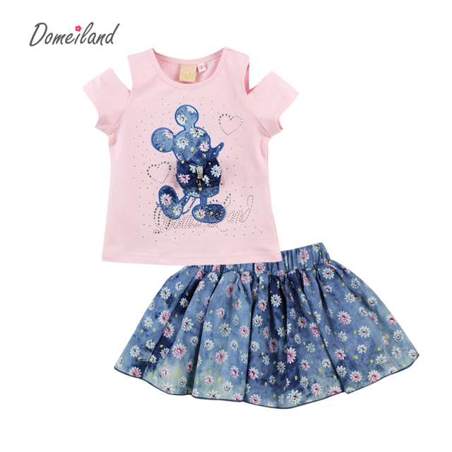 2017 fashion brand summer children clothing sets kids girl outfits short sleeve cartoon cotton shirts Flower skirt suits clothes
