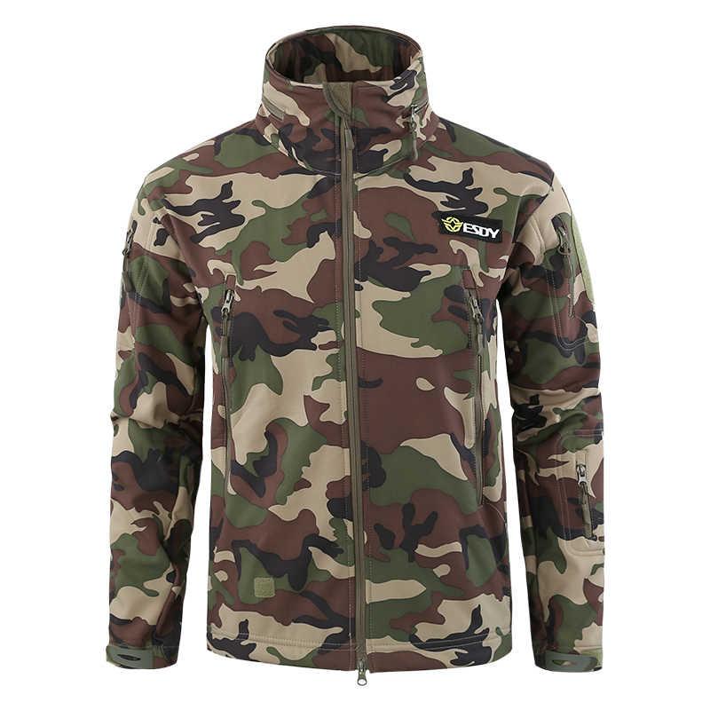 Chaqueta SoftShell hombres al aire libre impermeable caliente caza rompevientos abrigo de esquí senderismo camping pesca camuflaje ropa táctica hombre