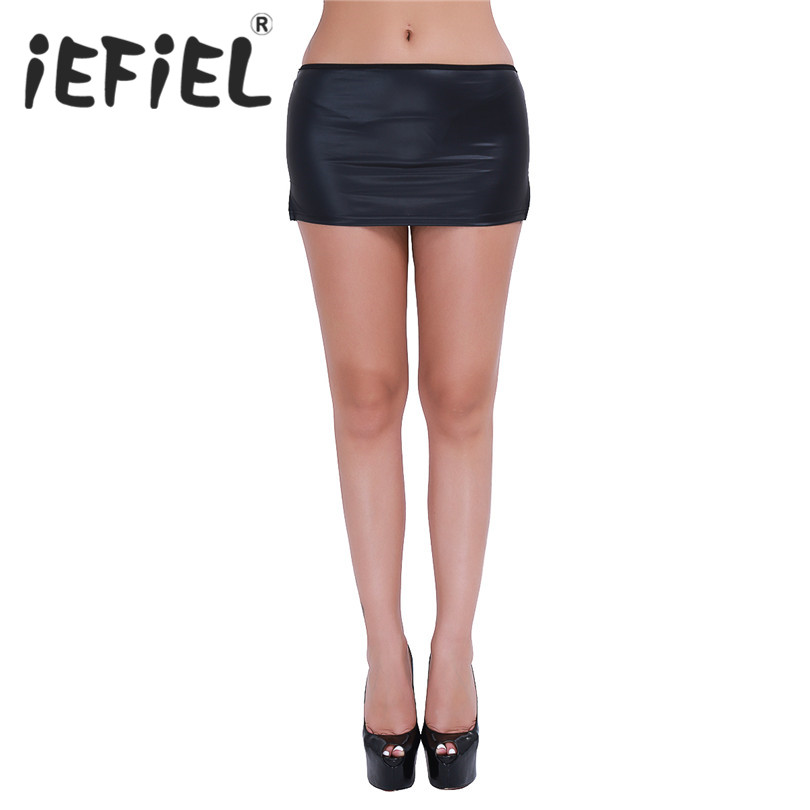 iEFiEL Womens Black Patent leather Wetlook Mini Skirt with G-string Nightclub Wear Sexy Skirts Party Stripper Women's Clothes