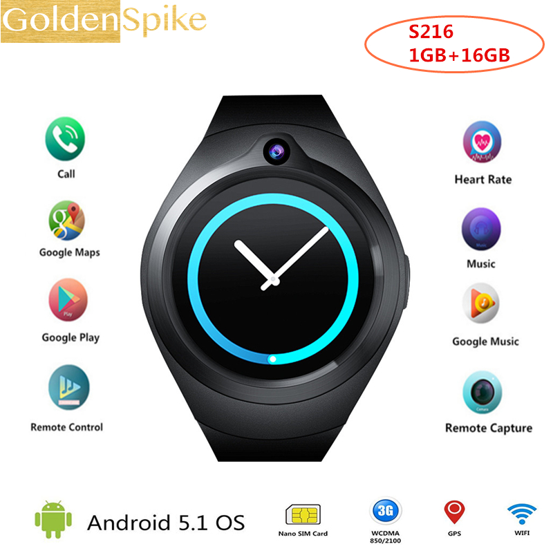 Android 5.1 OS 1GB+16GB S216 Smart Watch Electronics Android 1.3 Inch Mtk6580 SmartWatch Phone Support 3G Wifi Nano SIM WCDMA lemfo les1 android 5 1 os smart watch phone mtk6580 1gb 16gb smartwatch support 3g wifi gps sim card with 2 0 mp camera