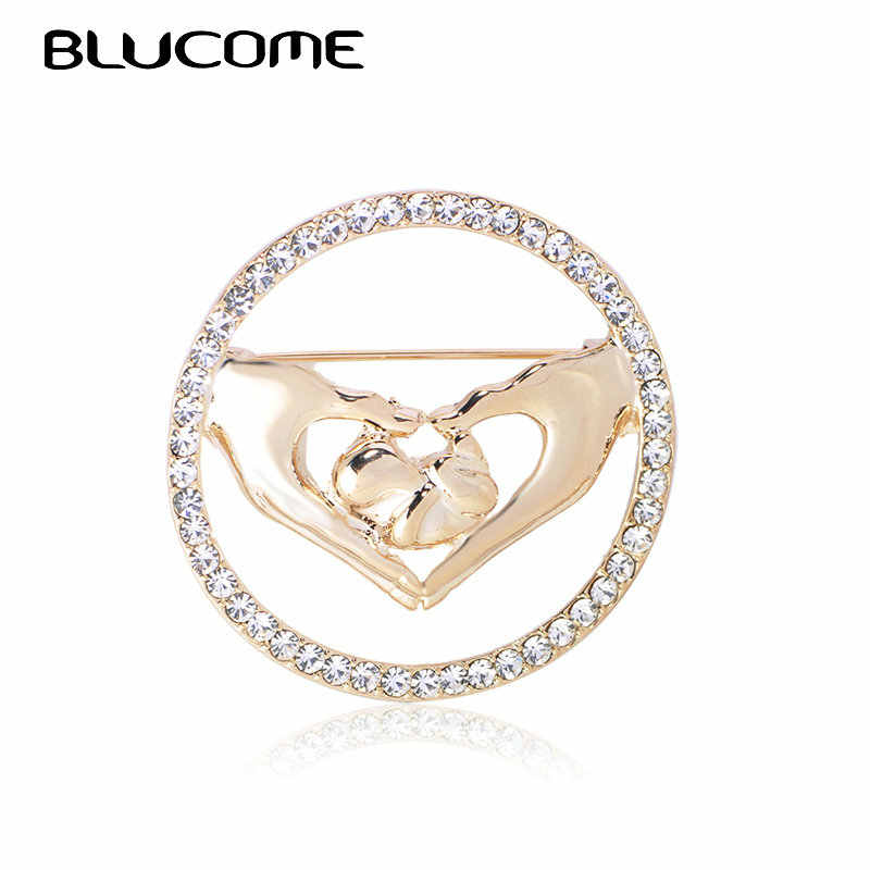 Blucome Crystal Love Hands With Newborn Baby Brooches Badge Gold Color Medical Jewelry Brooch Pins Gifts for Women Accessories