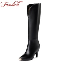 FACNDINLL new women shoes genuine leather knee high boots sexy black zipper high heels pointed toe long riding boots woman shoes facndinll women boots new fashion autumn winter square high heels pointed toe zipper shoes woman dress party riding ankle boots
