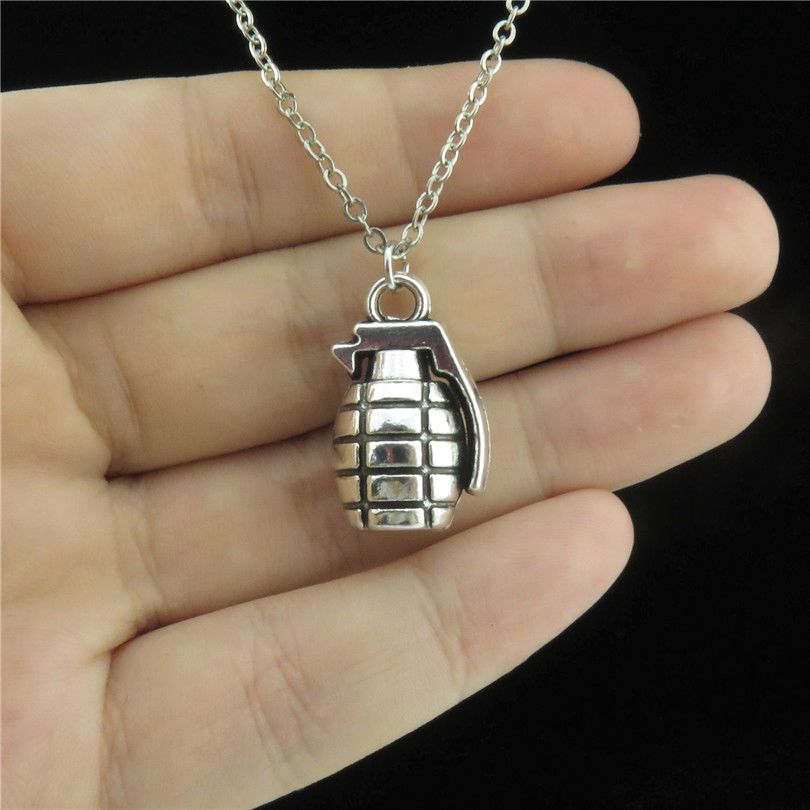 """GLOWCAT Q4A84 Fashion Punk Jewelry Silver Alloy Grenade Weapon Pendant Short Chain Collar Chunky Men Necklace 18"""""""