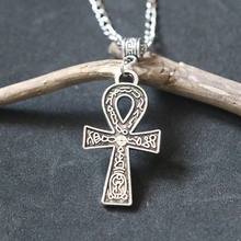 Egyptian Ankh Cross Pendant Necklace For Men Women Vintage Antique Silver Key of Life Necklaces Choker Collier Bijoux Protection