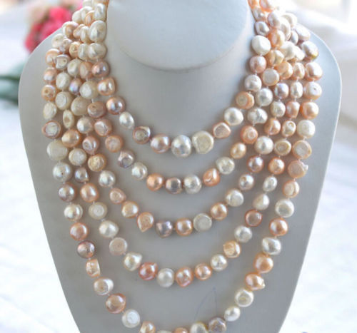 Rare Long 80 10 12mm AAA white pink Purple baroque freshwater pearl necklace