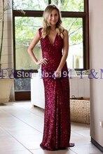 2016 neueste Einbau Sexy Lady Schöne New Fashion V-ausschnitt Mermaid Burgund Bodenlangen Graceful Lange Pageant Abendkleider