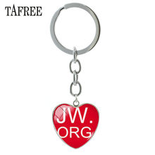 TAFREE Letter Design JW.org Heart Shape Charms Keychain & Key ring Holder Jehovah's Witnesses Jewelry Bag Pendant GIft QF54(China)