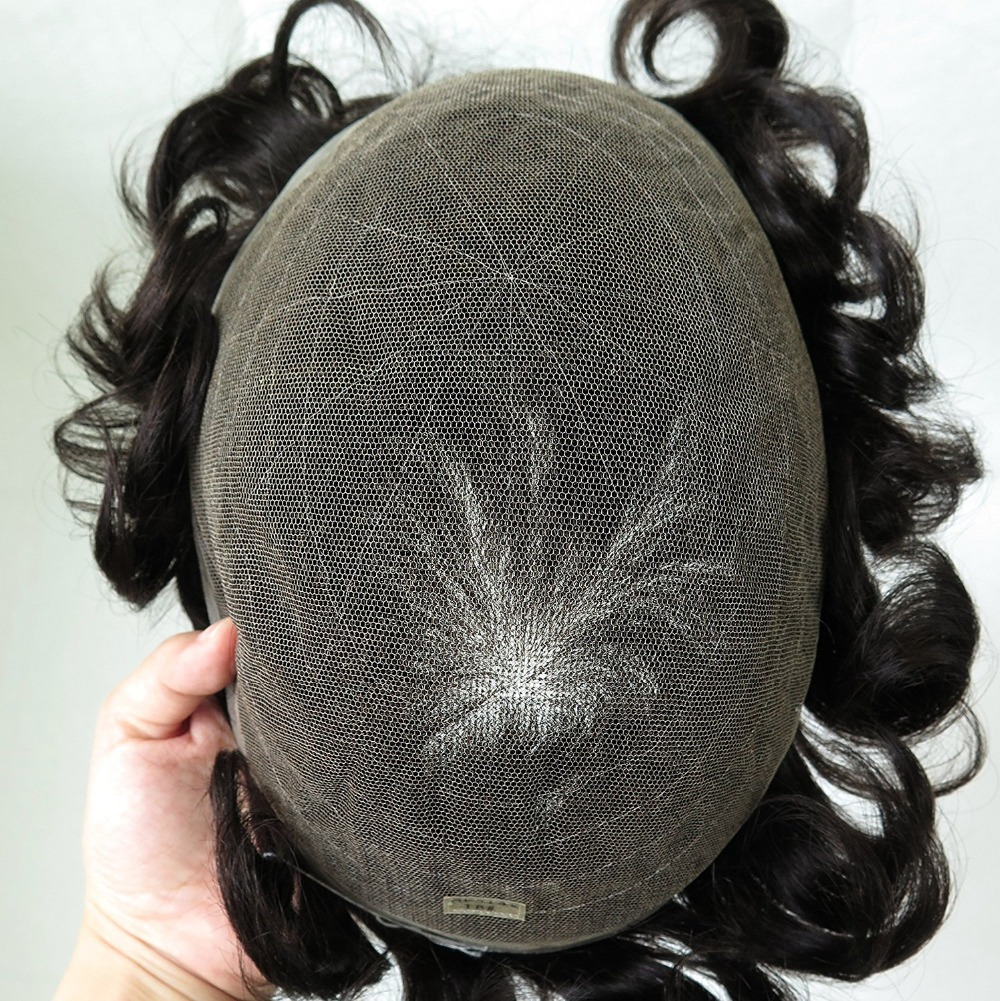 European Virgin Human Hair Toupee for Men with SOFT THIN Super Swiss lace 10 x 8