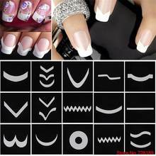 24pcs/set Nail Art Guide Tips Hollow Stencils Sticker French Manicure Template 3D Decals Form Styling Tool Free Shipping(China)