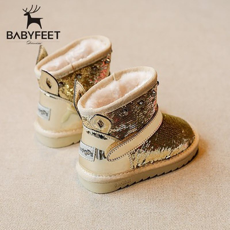 2017 brand designer warm booties children ankle boots kids girls Winter shoes Fashion Sequined infant fashion toddler sneakers