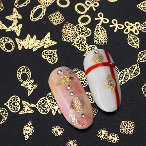 Image 4 - 3D Gold Metallic Slice Sequin Paillette Mixed Design Flower Butterfly Charms Nail Art Decoration DIY Hollow Manicure Studs CH967