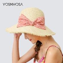 Moda Mulher Chapéu de Sol Viseira Bow Tie Aba Larga Verão Chapéu de Palha  Mulher Praia 4ae1dc08705