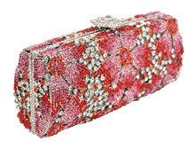 Chapado en oro de la manera del taladro del sistema de alto grado paquetes de cena Diamante flor de la mano al por mayor del comercio exterior por la noche bolsa de 88279
