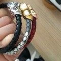 Moda Moda de Pele De Cobra Python Crânio Charm Bracelet & Bangle Pulseira de Aço Inoxidável Pulseira de Prata Para As Mulheres Da Moda Jóias Finas