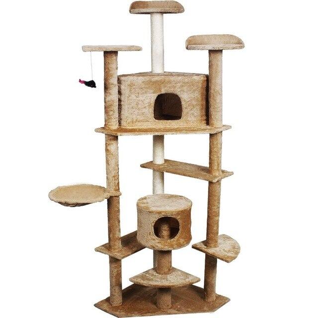 goplus 80 arbre chat condo meubles post pet maison beige - Arbre A Chat Maison