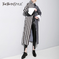 TWOTWINSTYLE Striped Long Blouse Female Patchwork Lapel Collar Single Breasted Flare Sleeve Shirts Spring Fashion New