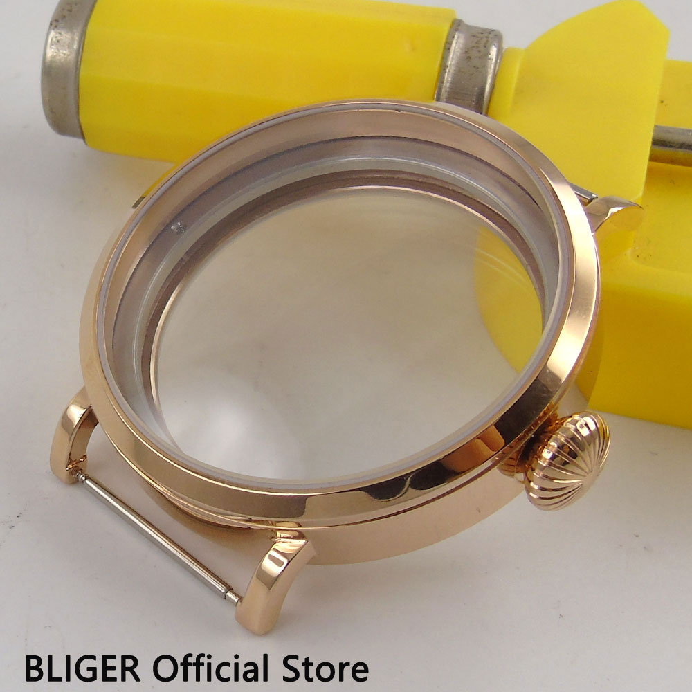 BLIGER 46MM Sterile Stainless Steel Rose Golden Case Scratch Proof Mineral Glass Watch Case Fit for ETA 6497 6498 Movement C21 46mm parnis stainless steel hardened mineral glass yellow golden plated watch case fit eta 6497 6498 movement
