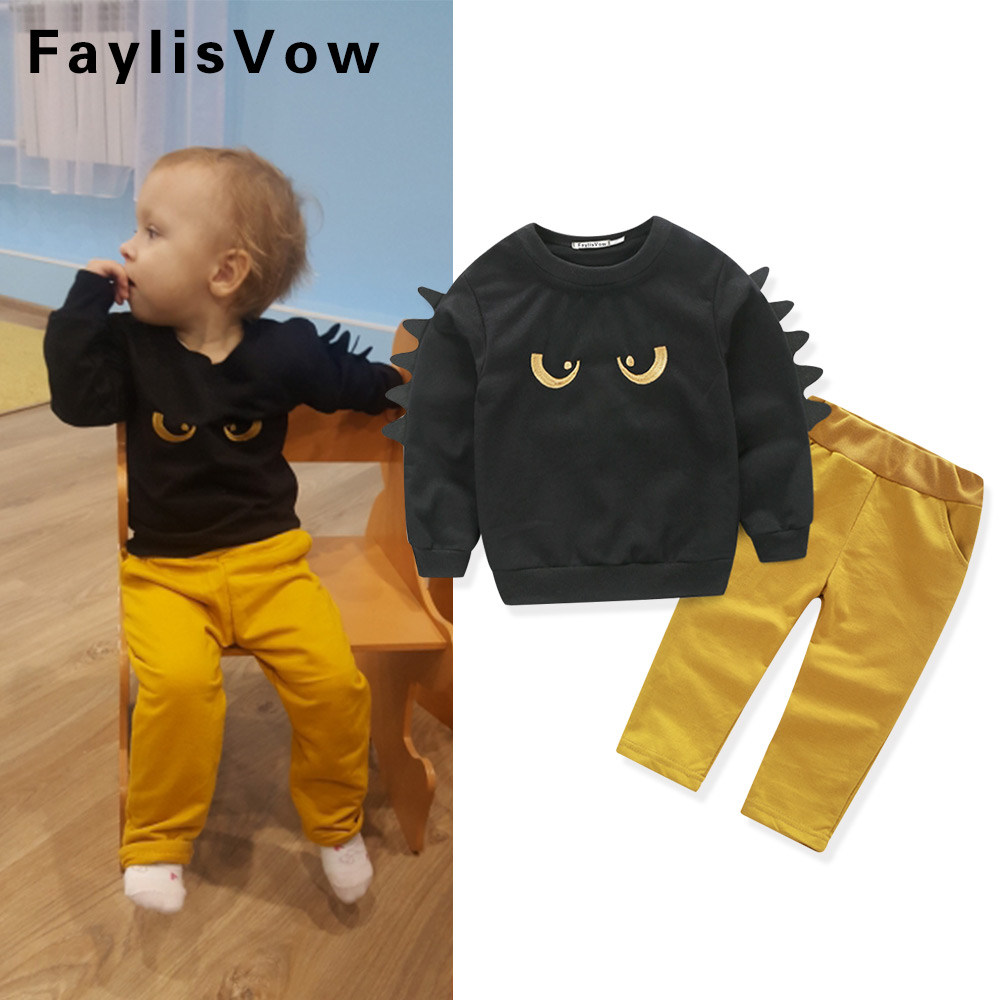 2Pcs Baby Boys Monster Clothing Set Kids Long Sleeve T-Shirt Pants Set Children Sports Suit Boy Tracksuit Clothes Toddler Outfit eaboutique new winter boys clothes sports suit fashion letter print cotton baby boy clothing set kids tracksuit