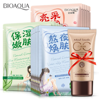 21Pcs Lot Polychrome Face Mask Various Plants Extracts Hyaluronic Acid Facial Mask CC Cream Skin Care
