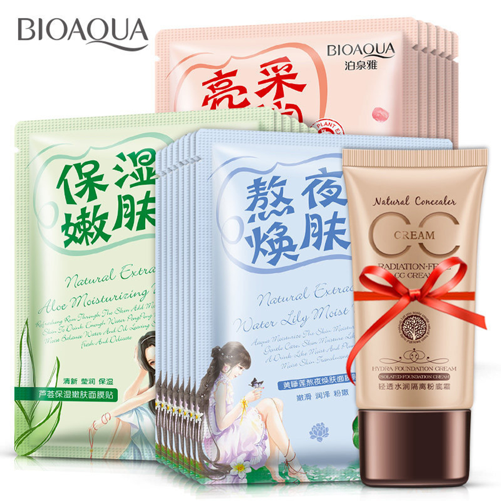 21Pcs/lot Polychrome Face Mask Various Plants Extracts & Hyaluronic Acid Facial Mask  CC Cream  Skin Care Cosmetics Combination chanel 5ml cc cc cream