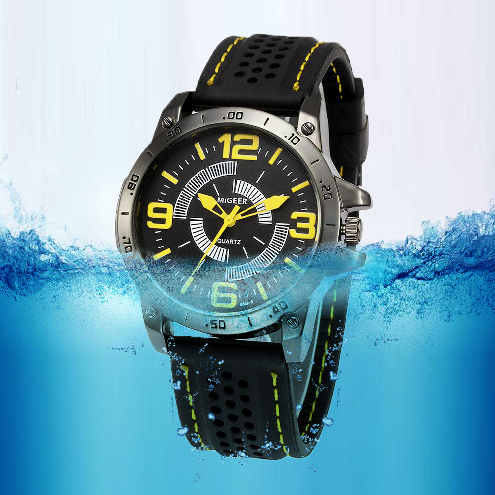 MIGEER 2018 Men Fashion Silicone strap Sport Cool Quartz Hours Wrist Analog Watch Men Watch waterproof Relogio Masculino super speed v0169 fashionable silicone band men s quartz analog wrist watch blue 1 x lr626