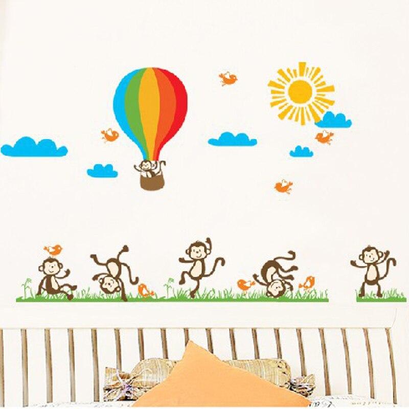 Dětské vinyly Lepicí obrazy na stěnu Zvířata Monkey Horkovzdušný balón Samolepky na zeď pro školky DIY samolepka
