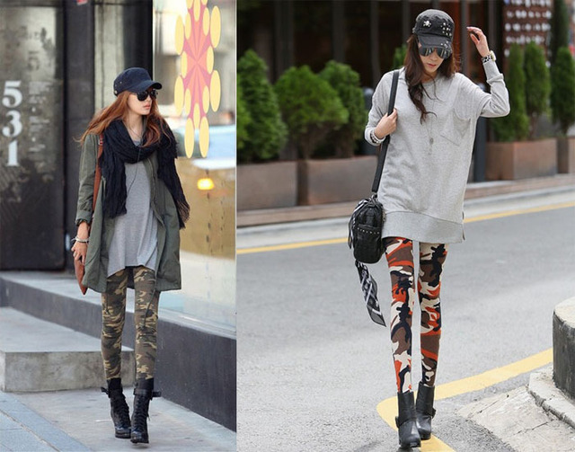 2013 New   arrival   Sexy Ladies Women Camouflage Printing  Pattern  3 Color  Leggings Pants Black Trouser Free shiping