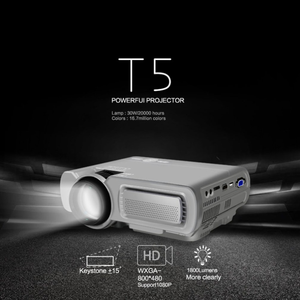 T5 Intelligent Sans Fil Wifi Hd Led Projecteur Home Mini Micro Portable Mobile Téléphone Écran De Projection De Projection NOUS-Blanc