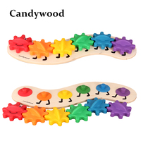 Kids Educational Toys Boys Girls DIY Toys Wood Intelligence Colorful Gear Caterpillar Toys Free Shipping Wholesale