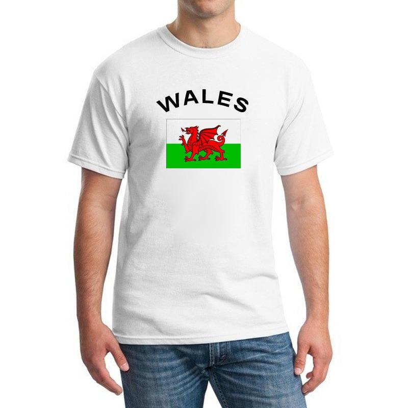BLWHSA WALES Fans 치어 리더 국기 티셔츠 팬 반팔 티셔츠 탑스 티셔츠 남성 의류