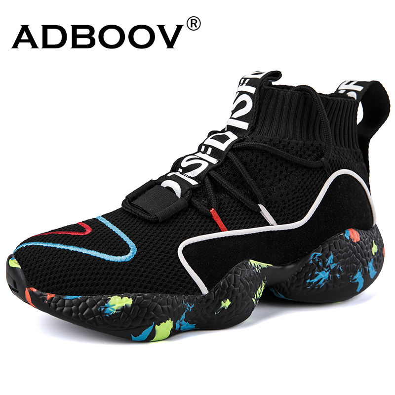 ADBOOV  High Top Sneakers Women Knit Upper Breathable Sock Shoes Woman Thick Sole 5 CM Fashion sapato feminino Black / White(China)