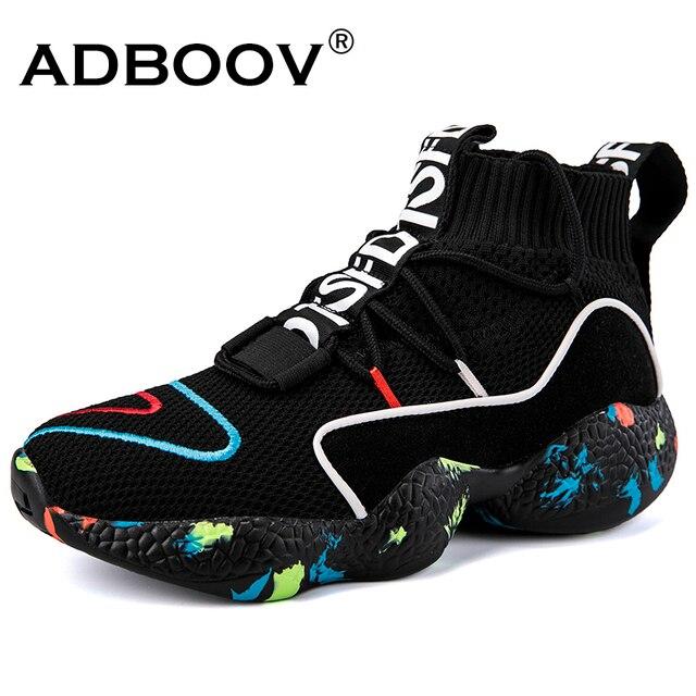 ADBOOV Yüksek Üst Ayakkabı Kadın Örgü Üst Nefes Çorap Ayakkabı Kadın Kalın Sole 5 CM Moda sapato feminino Siyah/ beyaz