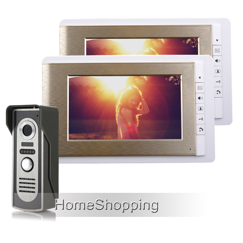FREE SHIPPING 7 Home Color Screen Video Door phone Intercom System 1 Weatherproof Doorbell Camera + 2 Golden Monitor IN STOCK brand new wired 7 inch color video door phone intercom doorbell system 1 monitor 1 waterproof outdoor camera in stock free ship