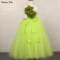 Green,Red,Orange Flower Fairy Girl Party Tutu Dress For Kids Girl Pageant Ball Gown Dress Princess Wedding Flower Girl Dresses