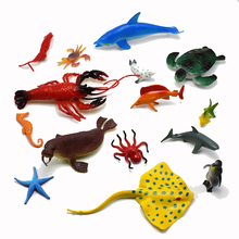 15Pcs/set 4-18CM PVC Simulation sea life marine organism Model Of Dolphins octopus turtles crab seal lobster starfish