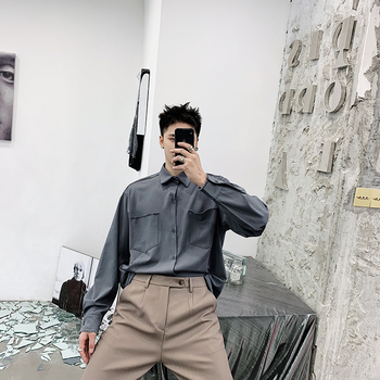 Spring pure color loose port wind pure cotton wool edge shirt male long sleeve han version fashion handsome.