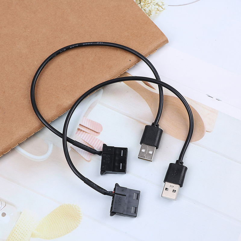 2Pcs PC Fan 4 Pin 12V To 5V USB 2.0 Connection Cable Computer Fan Power Cable Connector Adapter 4pin Fan To USB Adapter Cables