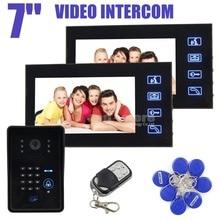 DIYSECUR 4 en 1 IR Cámara de 7 pulgadas LCD Video Timbre De la Puerta Sistema de Intercomunicación teléfono Con Teclado Numérico Control Remoto Lector de RFID 1V2