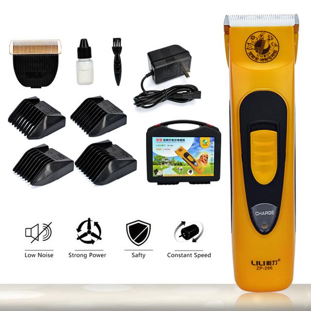 LILI Profesional Pet Dog Hair Trimmer máquina de Afeitar Eléctrica Recargable 48 W Dog Grooming Clipper + Titanio Hoja Cut Encabezado Adicional